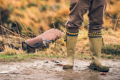 Jack Pyke Aschombe Gusset Wellington Boots during a hunt