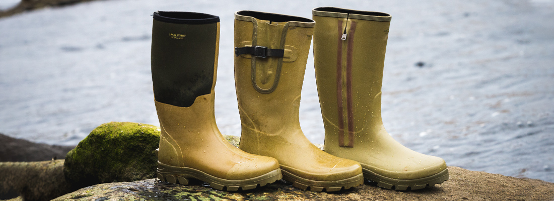 Jack Pyke Ashcombe Wellington Boots with different fastenings.